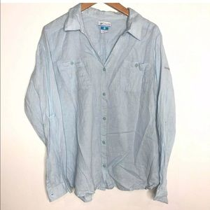 Columbia Size XL Blue Linen Blend Button Up